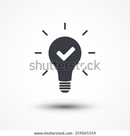 Idea concept. Light bulb and check mark - stock vector