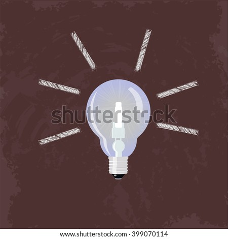 Idea concept. Light bulb on red blackboard with draw chalk rays. Brainstorm concept.  Thinking process.