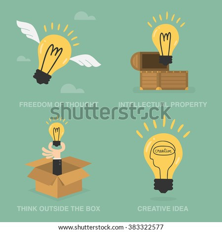Idea Concept Of Freedom Of Though, Intellectual Property, Think Outside The Box, and Creative Idea. Business Concept Illustration.