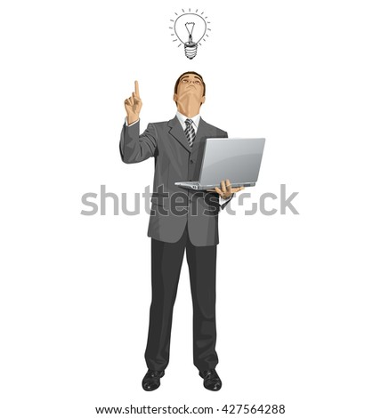 Idea concept. Vector business man looking up, looking for idea, shows something with his finger - stock vector