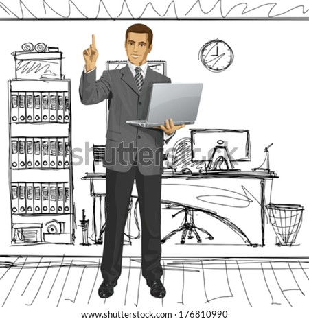 Idea concept. Vector business man shows something with his finger