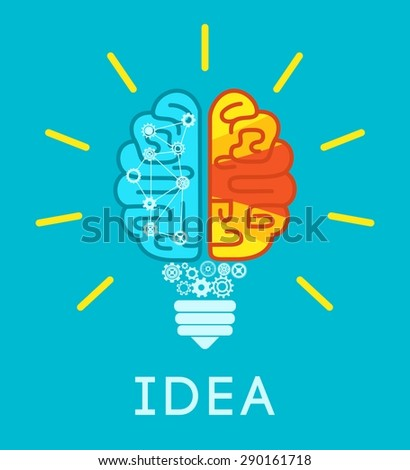 Idea concept with human brain in lightbulb shape flat vector illustration - stock vector