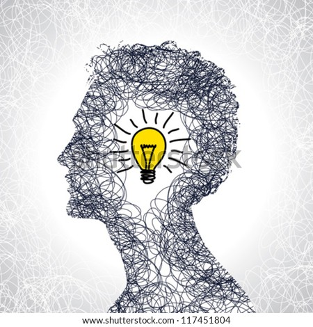 idea concept with human head - stock vector