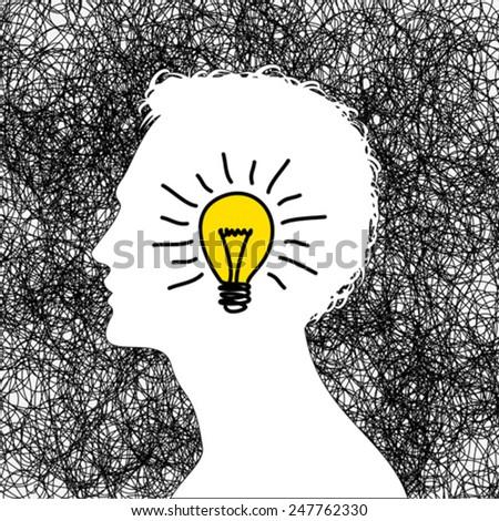 idea concept with human head - stock vector