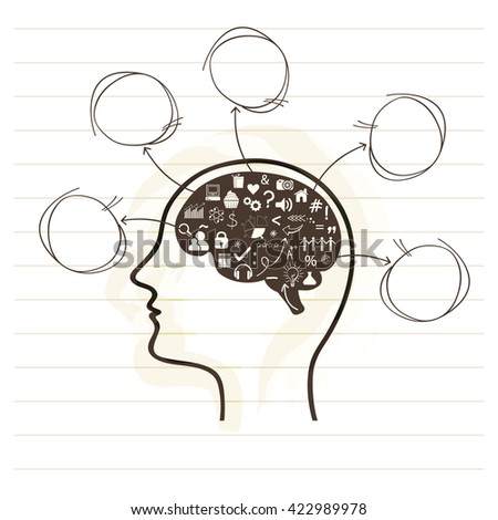 Idea concept with illustration of human brain and various business symbols on notebook paper background.