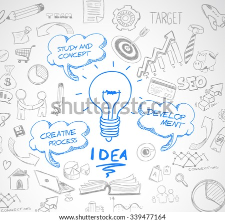 idea concept with light bulb and doodle sketches infographic icons hand drawn.Doodle design style :finding solution, brainstorming, creative thinking. Modern style illustration for web banners, - stock vector