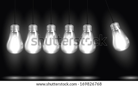 Idea concept with light bulbs in illustration vector