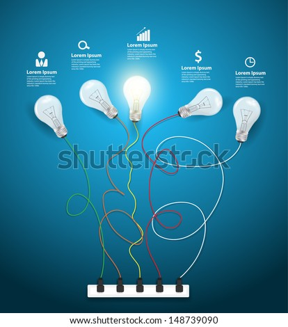 Idea concept with light bulbs on a blue background workflow layout, diagram, step up options, Vector illustration modern template design - stock vector