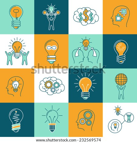 Idea creative innovation thinking icons set with light bulbs and human brain isolated vector illustration - stock vector