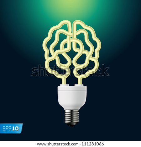 Idea energy bulb brain, vector Eps10 illustration.