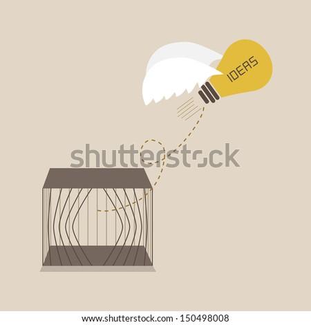 Idea escape form the cage - stock vector