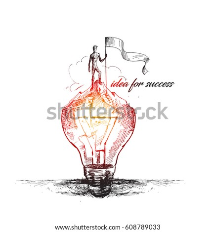 idea for success. Hand Drawn Vector Background.