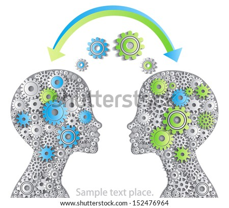 Idea for your head data exchange. - stock vector