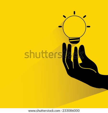 idea, hand holding light bulb on yellow background, flat and shadow theme - stock vector