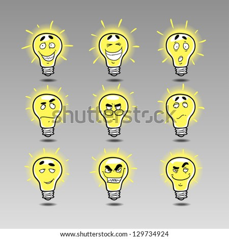 idea icon emotions set 2. Hand draw cartoon emotions: genius idea, brilliant idea, scandalous Ideas, unreal idea, interested idea, bright idea, crafty idea. - stock vector