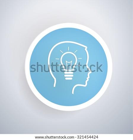 Idea icon on blue button background, clean vector - stock vector