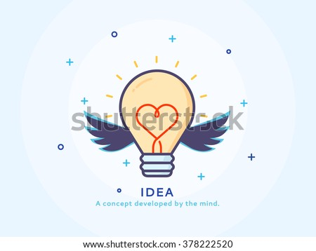 Idea icon - Thin line flat design of  business project startup process Flat modern color icons for marketing and business strategy - stock vector