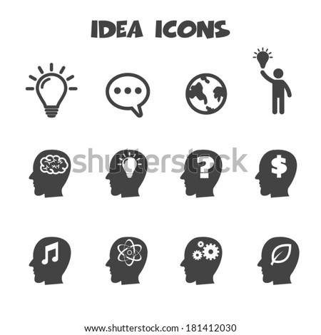 idea icons, mono vector symbols - stock vector