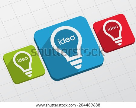 idea in light bulbs signs - white text and symbols in colorful flat design blocks, business creative concept, vector - stock vector