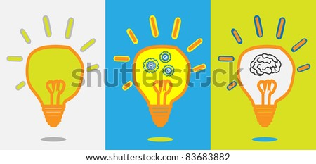 idea lamp + gear progress + smart brain - stock vector