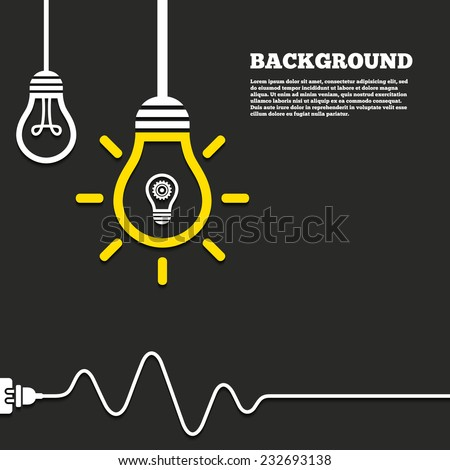 Idea lamp with electric plug background. Light lamp sign icon. Bulb with gear symbol. Idea symbol. Curved cord. Vector - stock vector