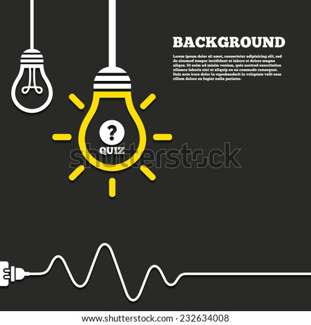 Idea lamp with electric plug background. Quiz with question mark sign icon. Questions and answers game symbol. Curved cord. Vector - stock vector