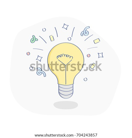 Idea light bulb, flat line concept of Creative, Generation of a new Ideas, Innovation. Lamp bulb with flying confetti. Isolated symbol vector illustration.