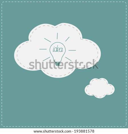 Idea light bulb in speech and thought bubble cloud. Flat design. Vector illustration. - stock vector