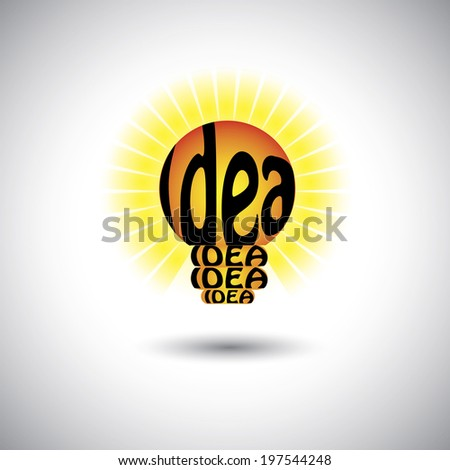 idea light bulb with hand written words - concept vector graphic. This illustration also represents problem solving, smart ideas, creative solution, clever thinking, brilliant mind, genius brain - stock vector