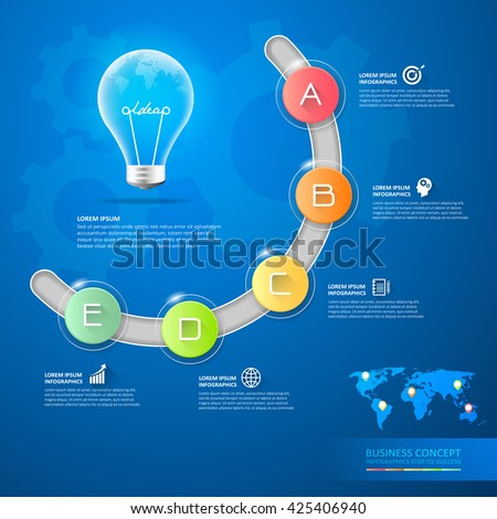 Idea lightbulb conceptual infographics. , Infographic template, business infographic, vector infographic. Infographics stock can be used for workflow layout, diagram, number option, business concept - stock vector