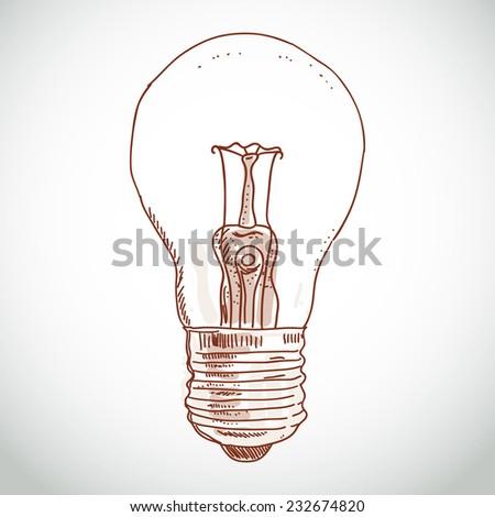idea lightbulb sketch on white background. vector - stock vector