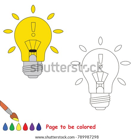 Idea - lighting bulb to be colored, the coloring book for preschool kids with easy educational gaming level.