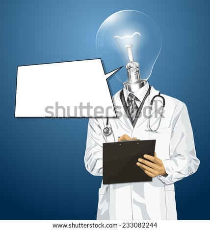 Idea medical concept. Vector lamp head doctor man writing something with marker on clipboard - stock vector