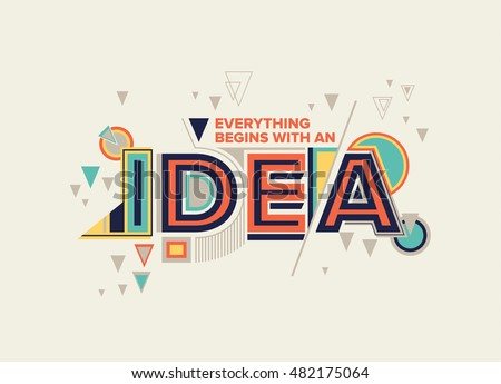 idea modern typography design in geometrical style creative design for your wall graphics