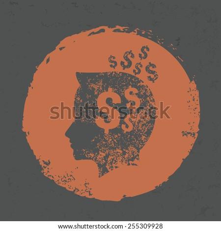 Idea money design on grunge background, grunge vector - stock vector