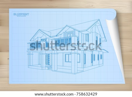 Idea house on blueprint paper architectural stock vector 758632429 idea of house on blueprint paper architectural drawing paper on wooden texture background vector malvernweather Choice Image