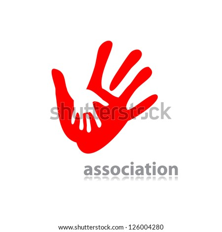 idea of the sign for the association of care - hand in hand. vector - stock vector