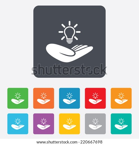 Idea patent insurance sign. Hand holds lamp bulb symbol. Intellectual Property. Rounded squares 11 buttons. Vector - stock vector