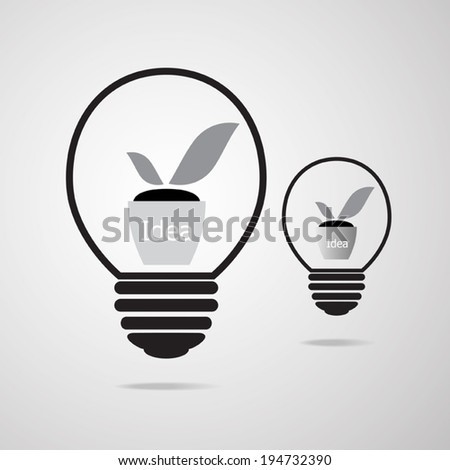 Idea plant growing inside the light bulb, ecology and idea design concept. Vector EPS 10. - stock vector