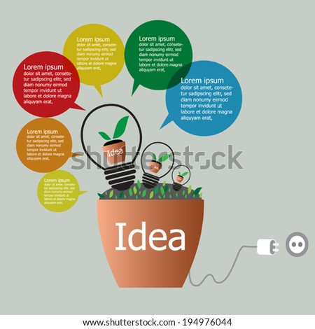 Idea plant growing inside the light bulb in clay pot, ecology and idea  infographics design concept. Vector EPS 10.     - stock vector