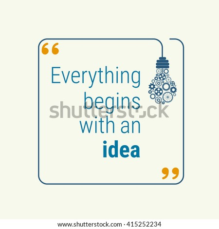 idea quote with light bulb with gears. concept of big ideas inspiration innovation, invention, effective thinking. text. outline. Vector for your design