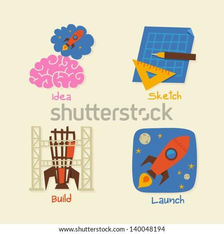 Idea Sketch Build Launch - stock vector