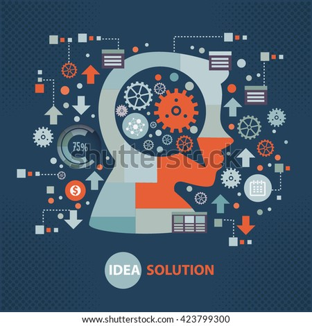 Idea solution concept design on dark background,vector