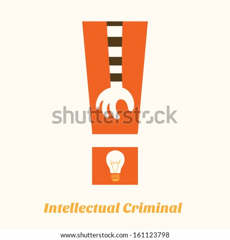 idea stealing intellectual criminal aware - stock vector