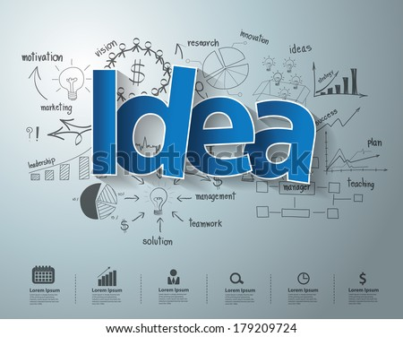Idea text, With creative drawing charts and graphs business success strategy plan idea, Inspiration concept modern design template workflow layout, diagram, step up options, Vector illustration - stock vector