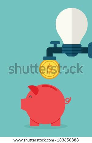 Idea to money, vector - stock vector