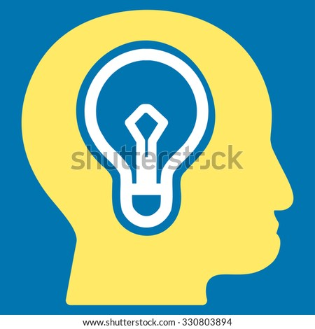 Idea vector icon. Style is bicolor flat symbol, yellow and white colors, rounded angles, blue background. - stock vector
