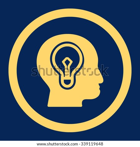 Idea vector icon. Style is flat rounded symbol, yellow color, rounded angles, blue background. - stock vector
