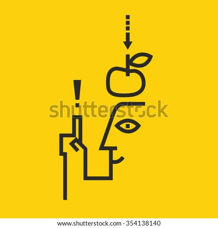 Idea! Vector logo of an apple falling dawn to the head. On a yellow background - stock vector