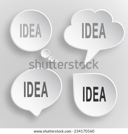 Idea. White flat vector buttons on gray background. - stock vector